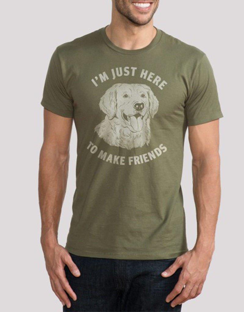 "Headline Olive ""Just Here to Make Friends"" Tee"