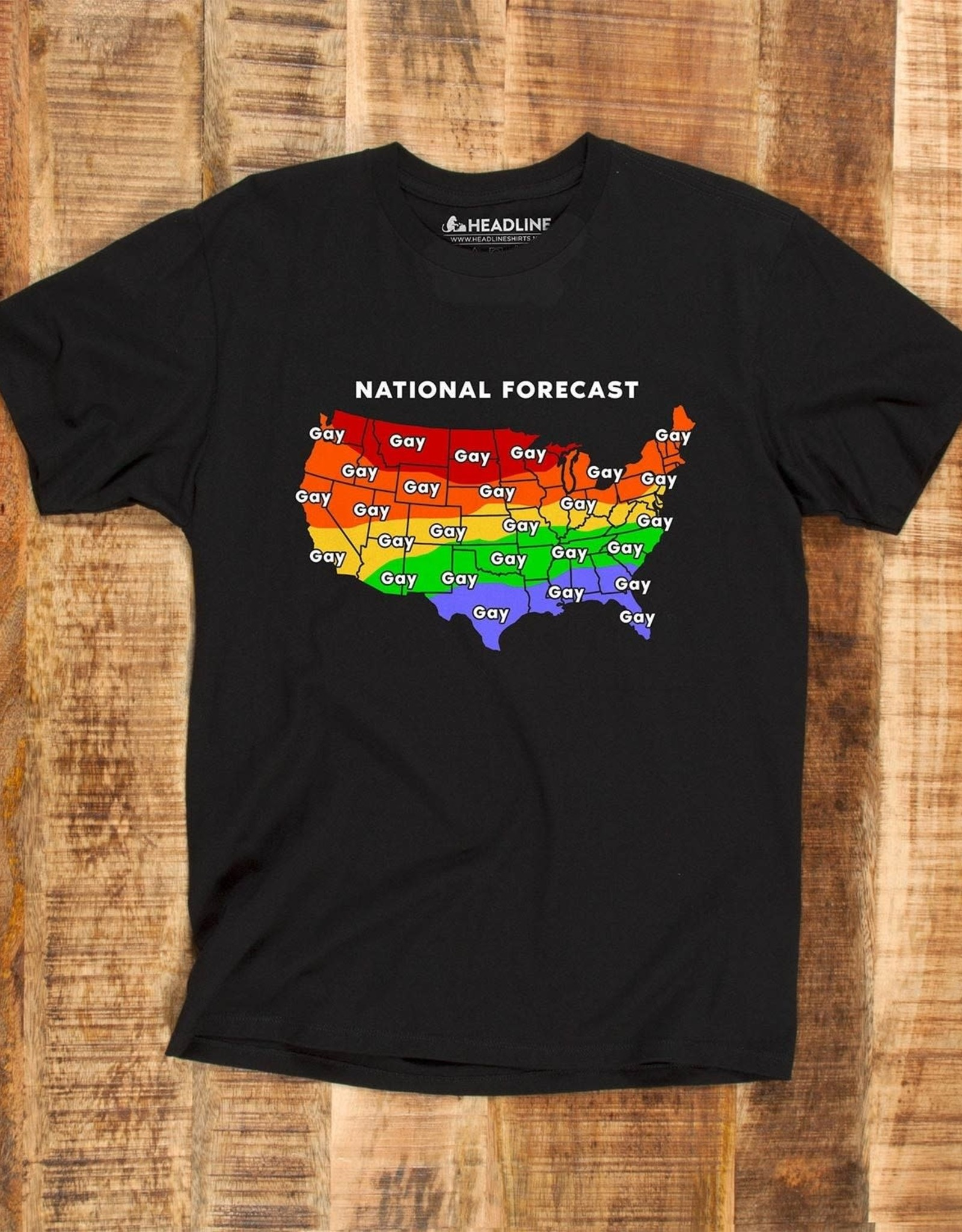 "Headline Black ""Gay Weather Forecast"" Tee"