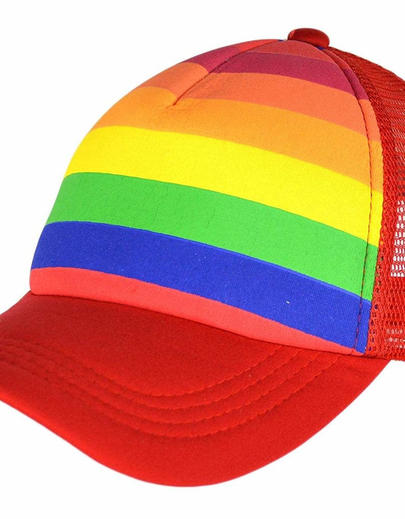 Pride RainbowDepot Rainbow Striped Truckers Cap