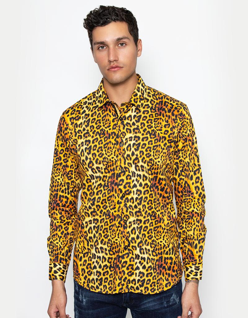 Barabas Leopard Print Long Sleeve Shirt