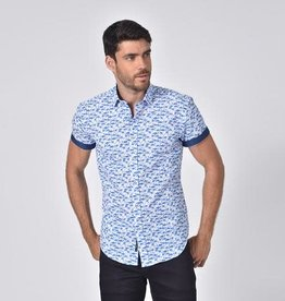 Eight X Blue Flamingo Short Sleeve Shirt