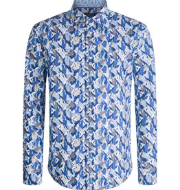 Bugatchi Shaped Fit Abstract Print Steel Shirt