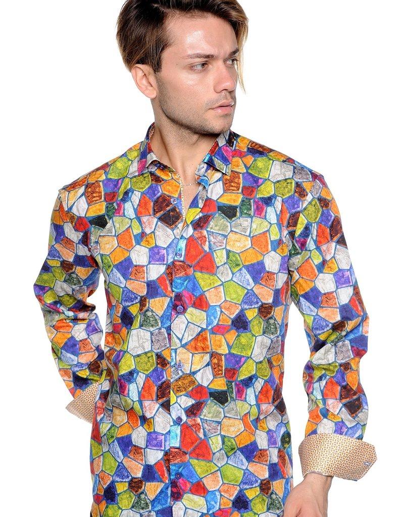 Mizumi Multi Color Mosaic Long Sleeve Shirt
