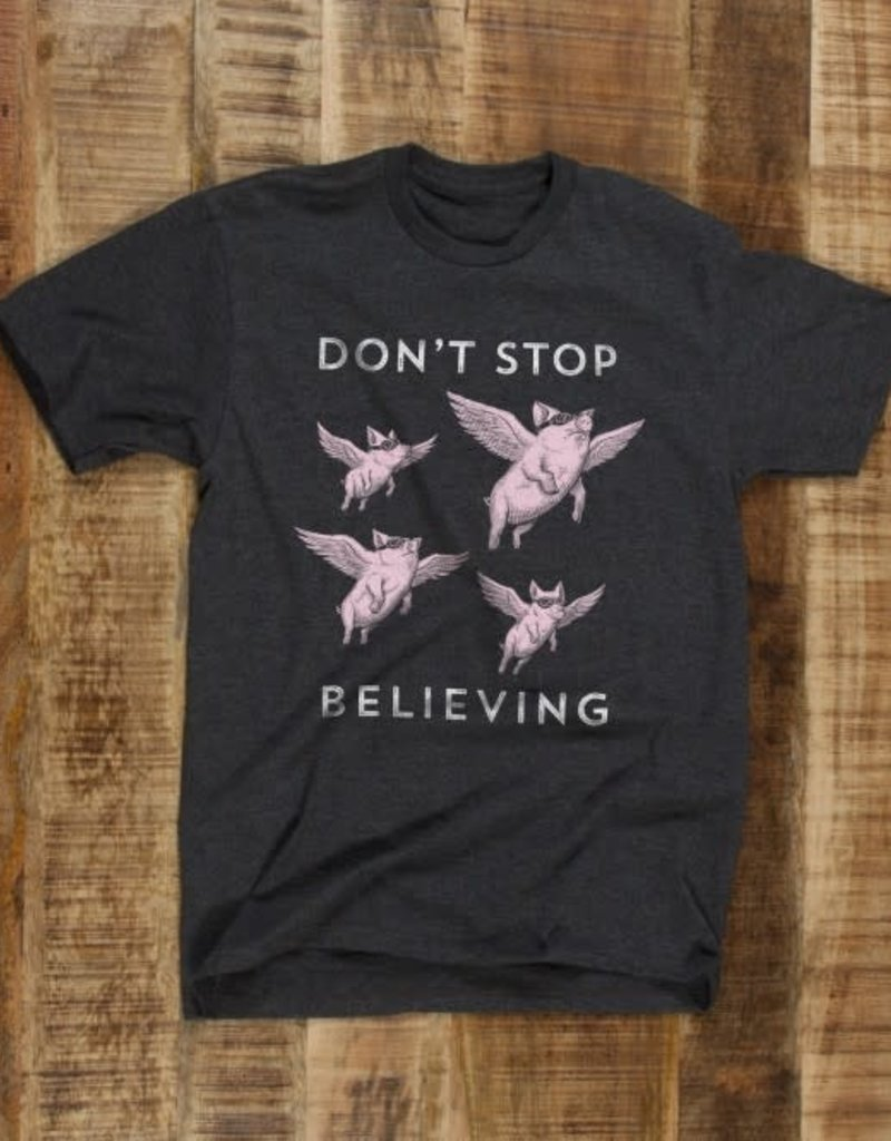 "Headline Charcoal ""Don't Stop Believing"" Tee"
