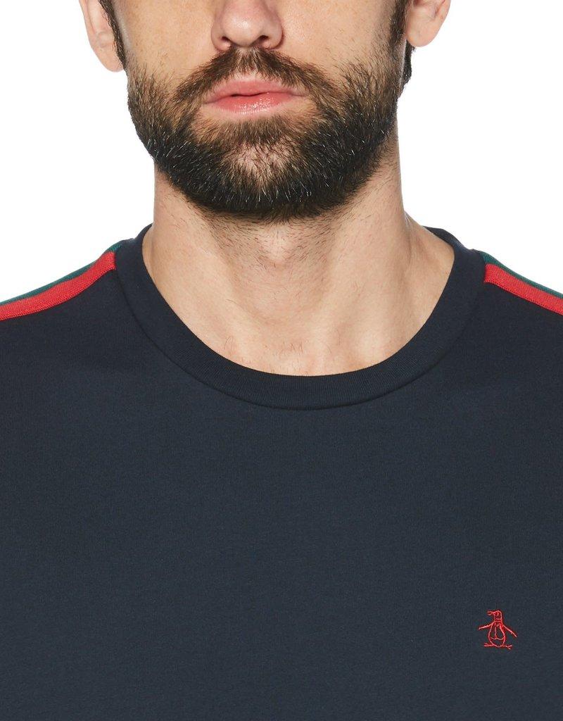 Penguin Navy Shoulder Detail T-Shirt