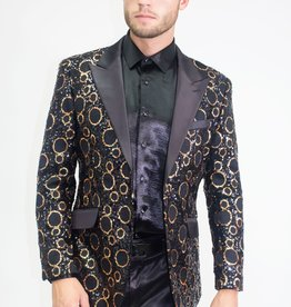 Barabas Black Golden Circles Blazer