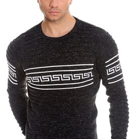 Mizumi Black Greek Key Crew Neck Sweater
