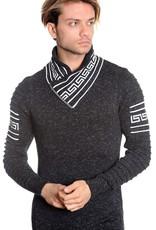 Mizumi Black Greek Key V-Neck Sweater
