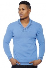 True Rock Blue Collar Vneck Sweater