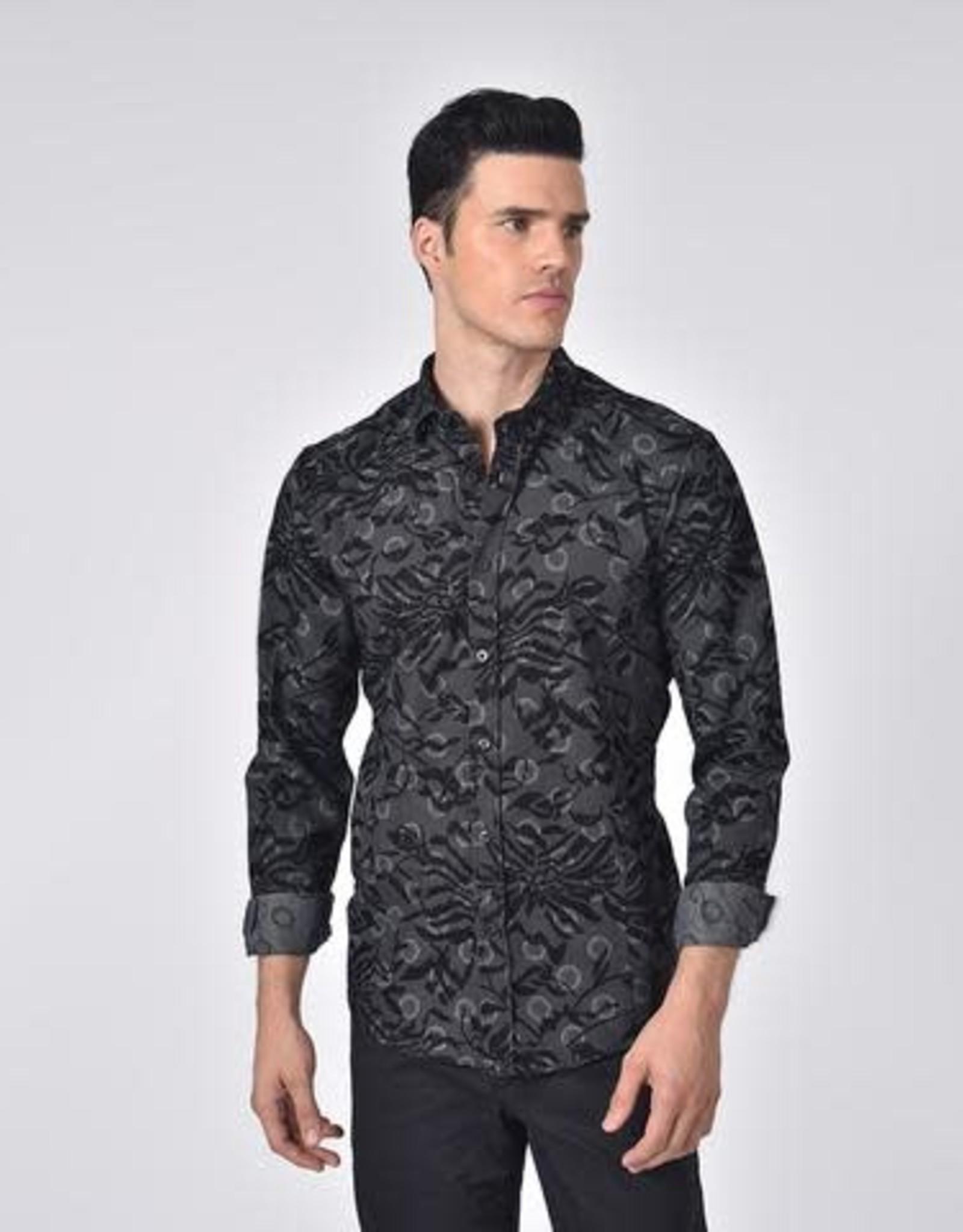 Eight X Floral Flocking Dot Printed Shirt