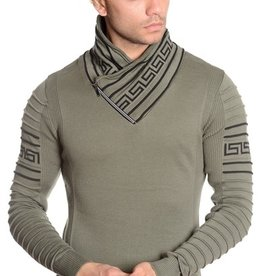 Mizumi Olive/Black Greek Key Trim Sweater