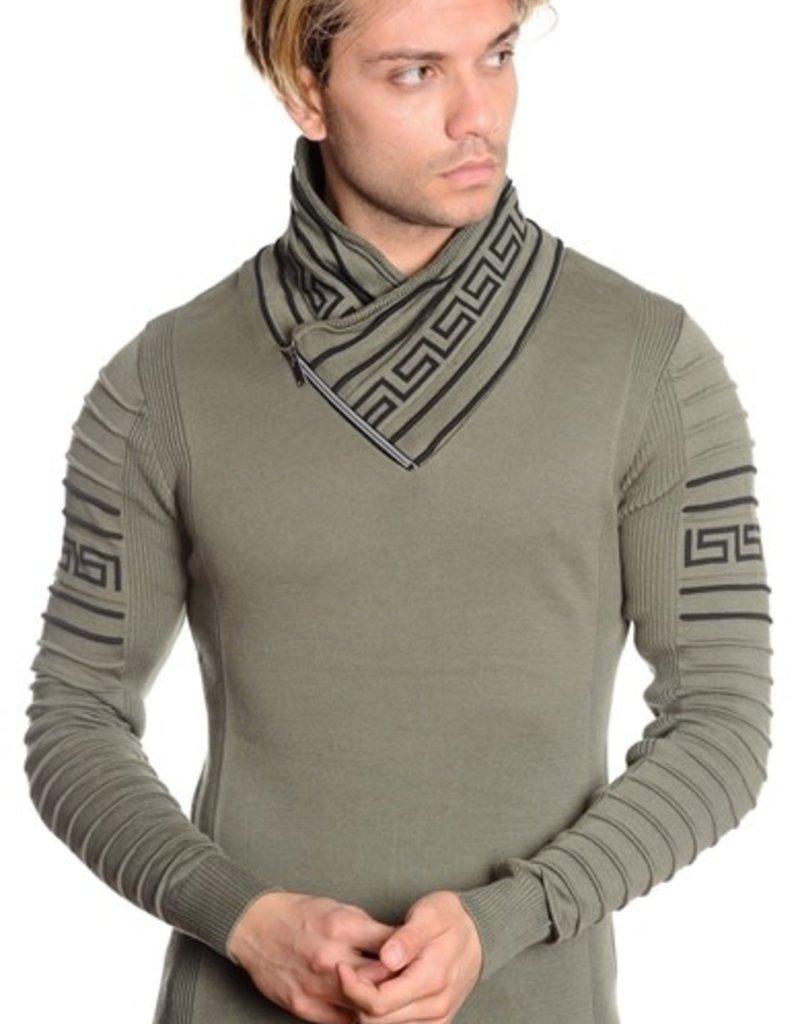 Mizumi Olive/Blk Trim L/S Sweater