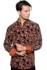 Mizumi Brown Flocked Leaves Shirt