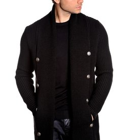 LCR Black Shawl Collar Tunic Sweater
