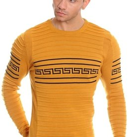 LCR Mustard Greek Key Crew Neck Sweater