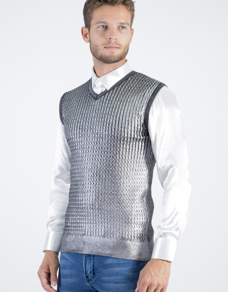 Barabas Take Your Shot Silver Sweater Vest