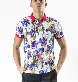 Barabas Water Color Floral Print Polo