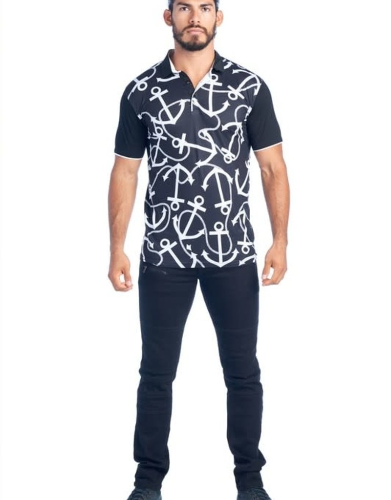 Urban Fitz Black & White Anchor Polo