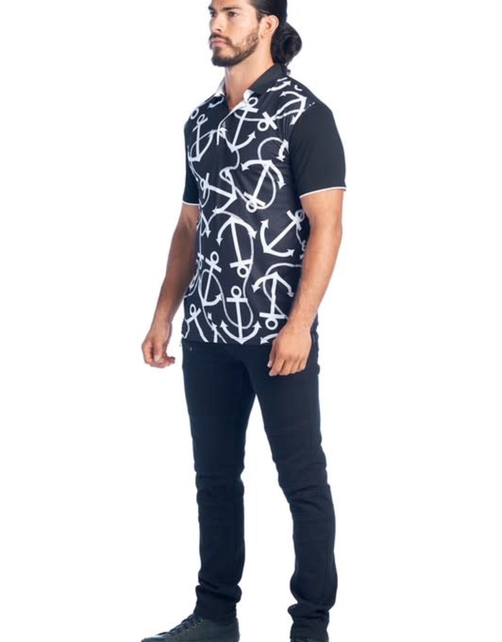 Urban Fitz Black & White Anchor Polo