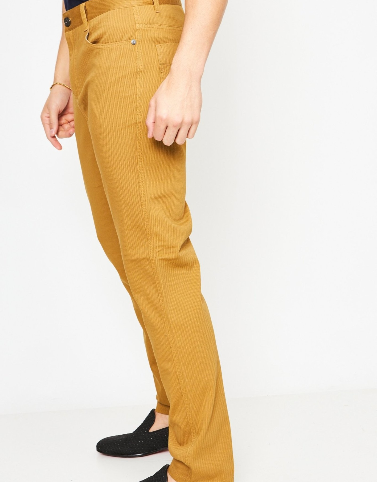 Barabas Calling Mustard Textured Pants