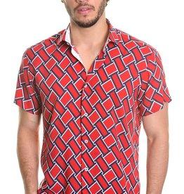 Mizumi Red/Navy Basket Weave Shirt