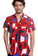 Mizumi Red/Blue Graphic Shirt