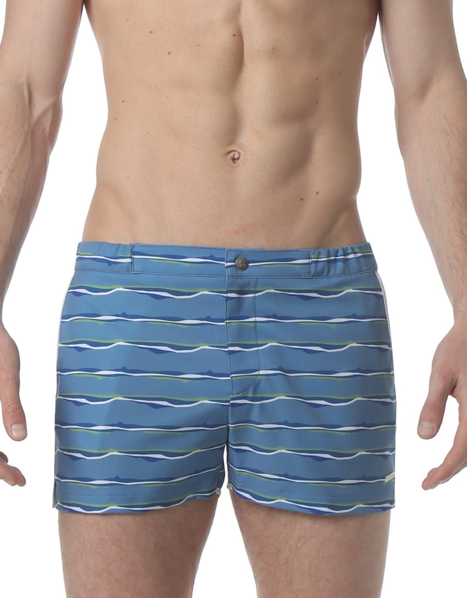 "parke & ronen 2"" Angeleno Stripe Swim Short"