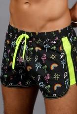 Andrew Christian Neon Paradise Mesh Swim Shorts