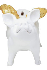 "7"" White Piggy Bank w/Gold Wings"