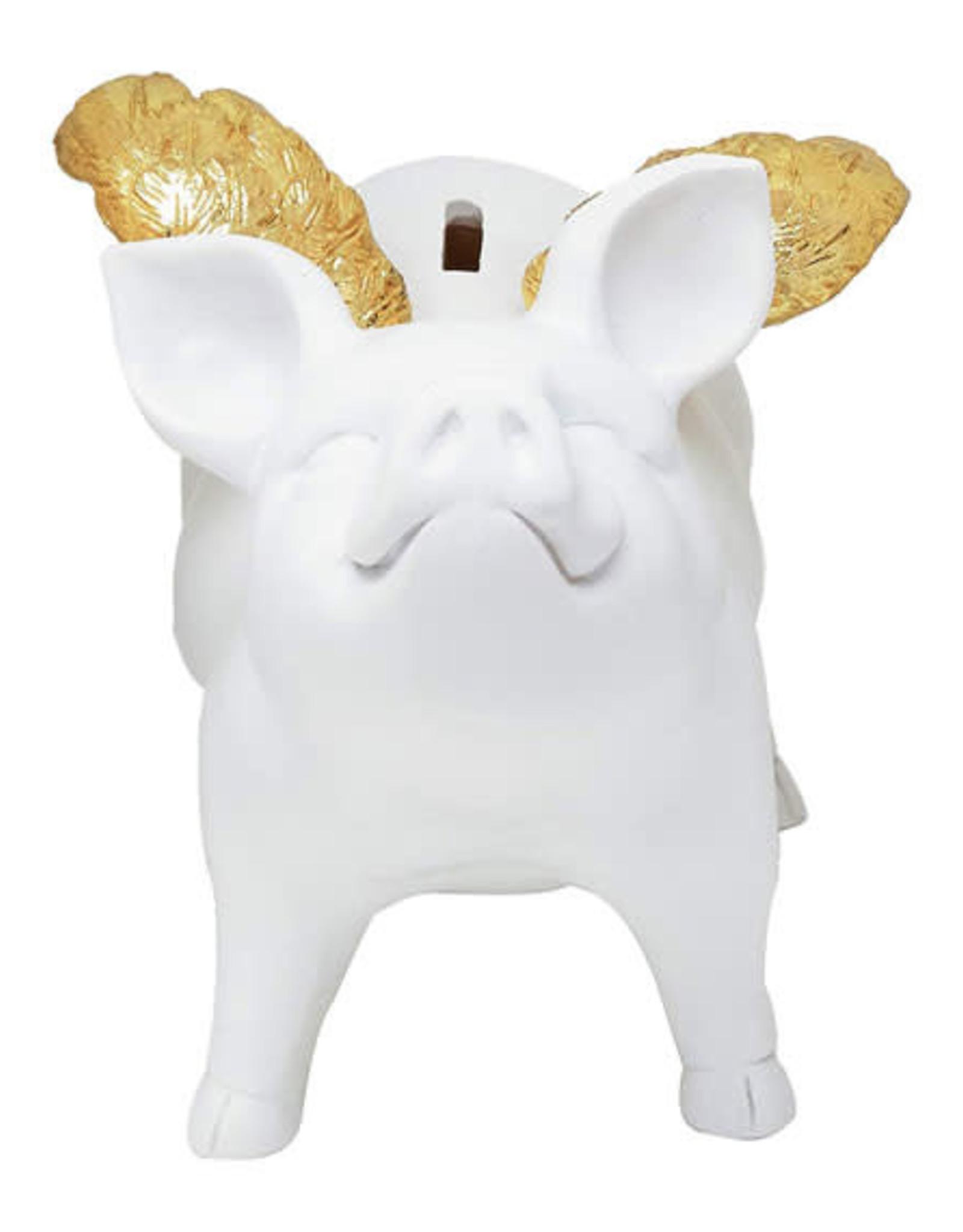 "7"" White Piggy Bank w/Gold Wings"