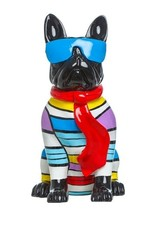 "Interior Illusions 14"" Sitting Stripe Dog w/Blue Glasses"