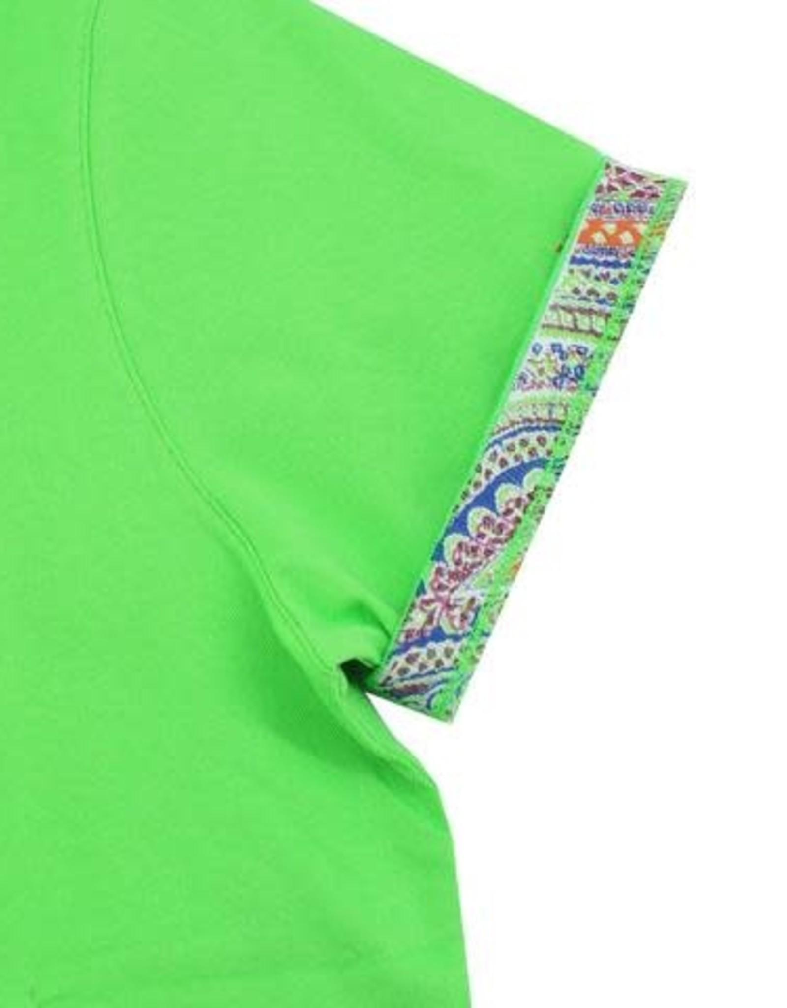 Eight X Green Polo Shirt with Paisley Print Collar