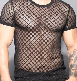 Andrew Christian Lattice Lace Crew Neck Tee