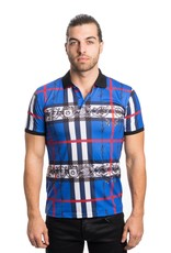 Urban Fitz Blue Plaid with Crest Polo