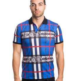 Urban Fitz Blue Plaid with Crests Polo
