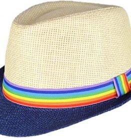 Rainbow Depot Blue Rainbow Brim Straw Fedora