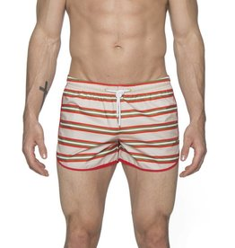 "parke & ronen 3"" Retro Sprinter Stripe Swim Short"