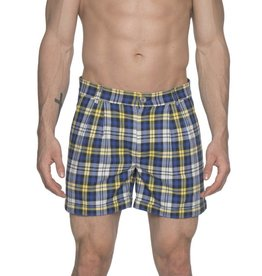 parke & ronen Parke & Ronen Blue Plaid Pleated Cuff Shorts