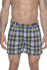 parke & ronen Parke & Ronen Blue Plaid Pleated Cuff Shorts