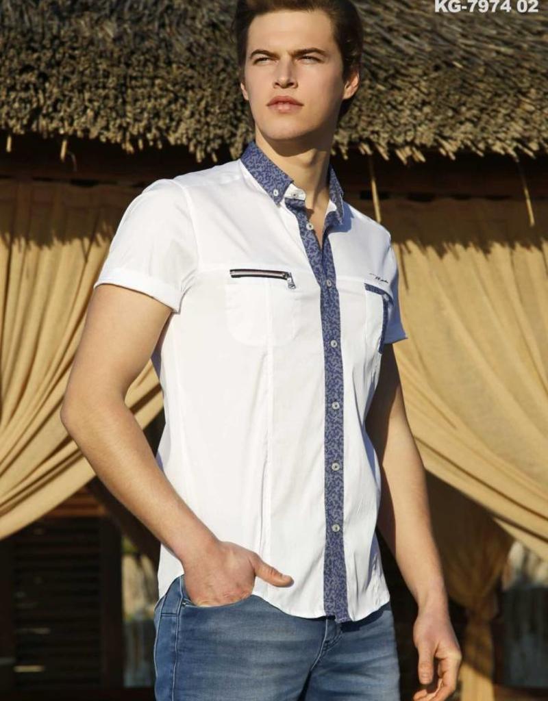 Mondo Mondo White w/Blue Trim Short Sleeve Shirt