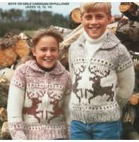 Art of Yarn Vintage Pattern* - Jacket W/ Reindeer (Size 10 ,12 & 14) (PDF)