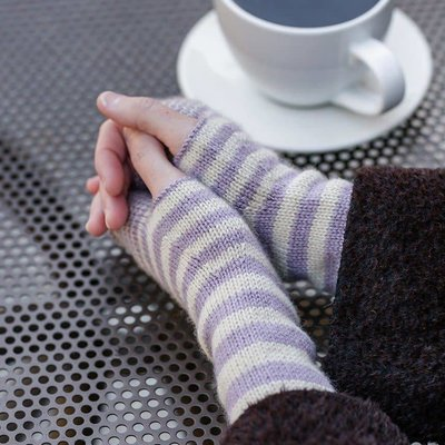 Churchmouse Yarns & Teas Accelerating Stripes Fingerless Gloves & Cowl