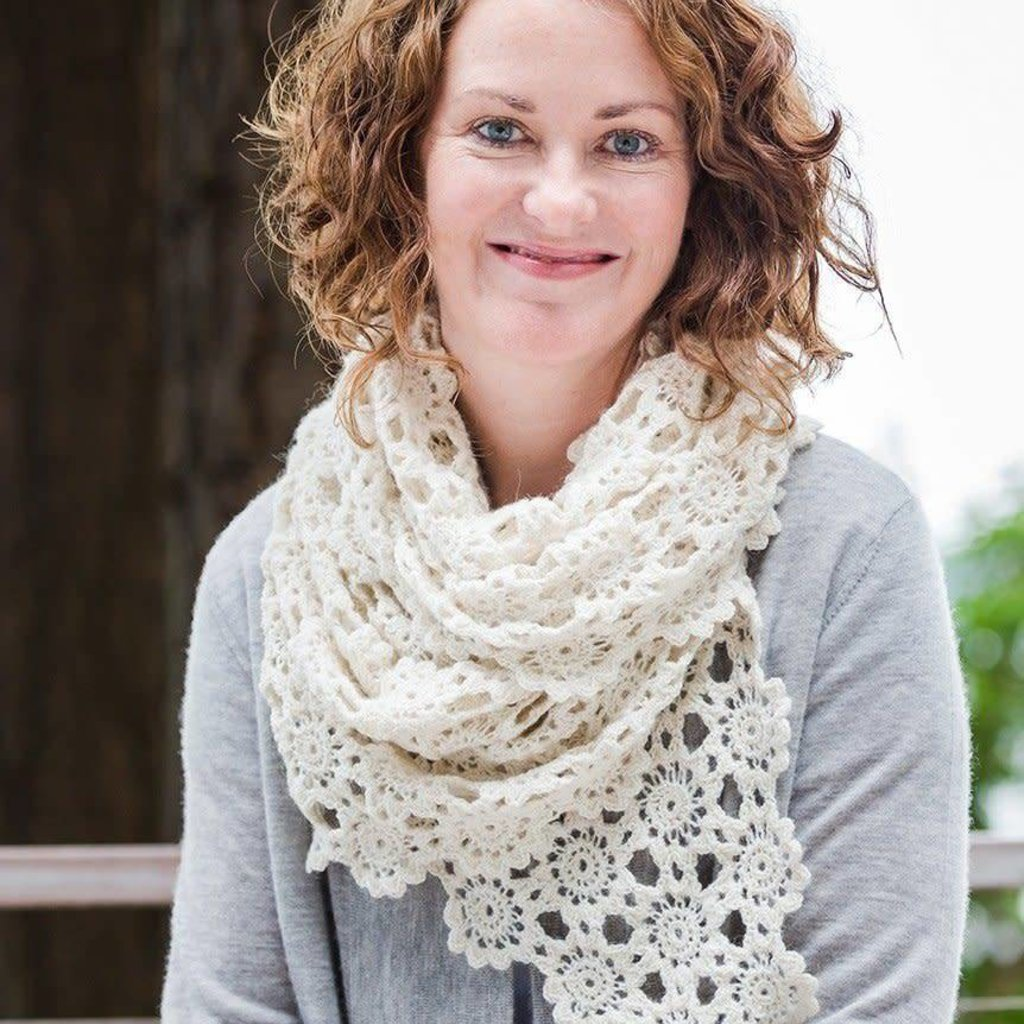 Churchmouse Yarns & Teas Churchmouse - Crocheted Flowers Scarf