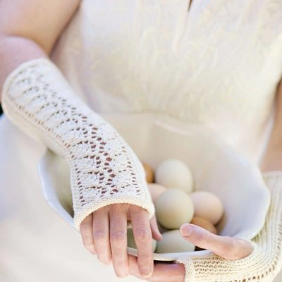 Churchmouse Lace-Back Fingerless Gloves