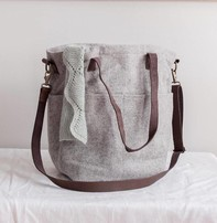 Twig & Horn Wool Crossbody Project Tote - Gray