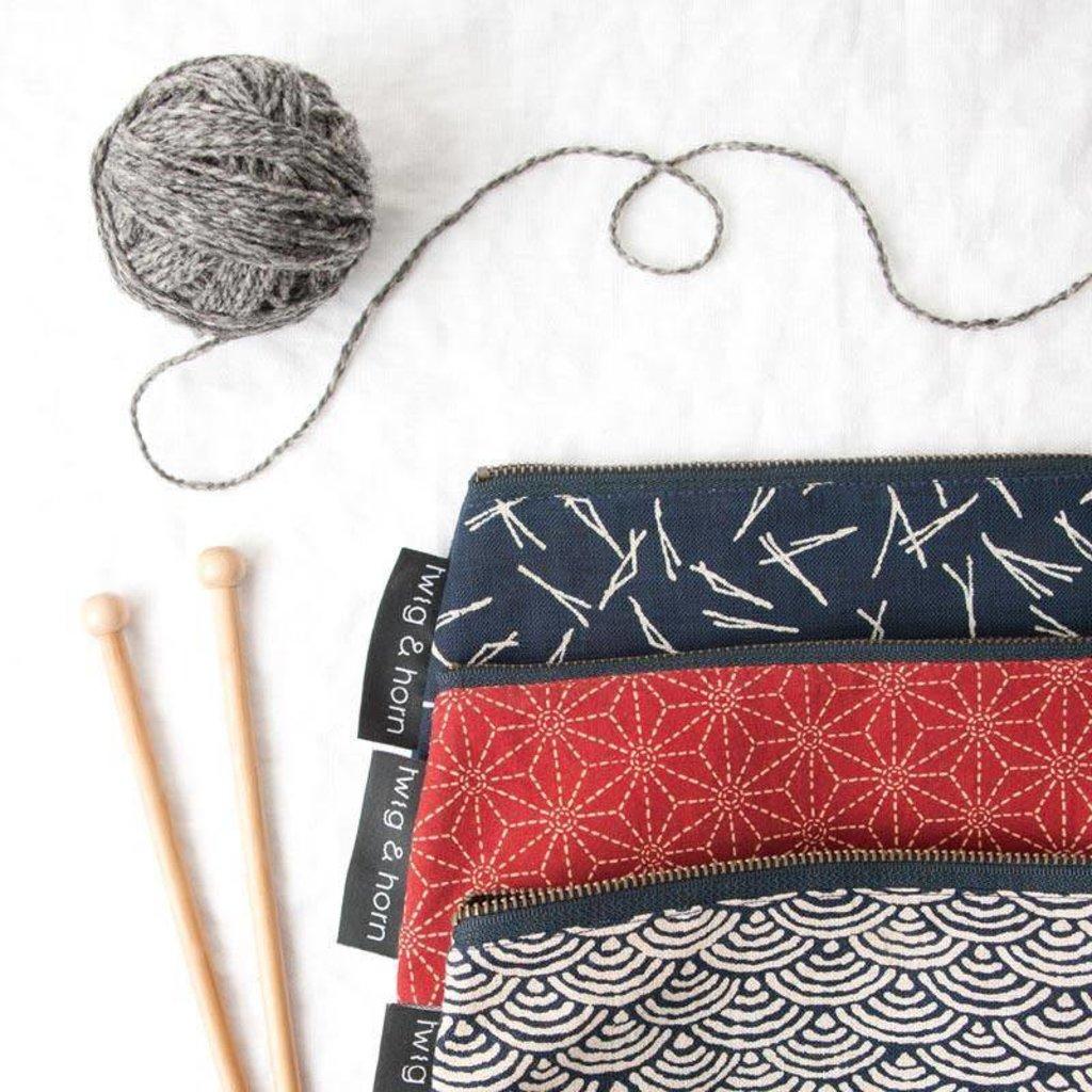 Twig & Horn Medium Notions Zipper Pouch - Red Sashiko