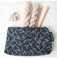 Twig & Horn Medium Notions Zipper Pouch - Blue Sticks