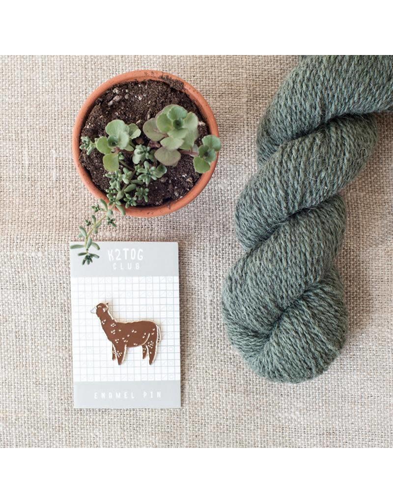 Twig & Horn K2TOG Club | Brown Alpaca Enamel Pin