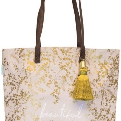 Design Home Gilded Flowers Tote