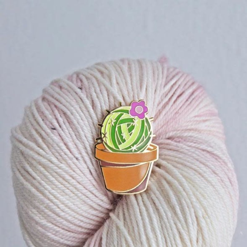 Twill & Print Prickly Yarn Enamel Pin